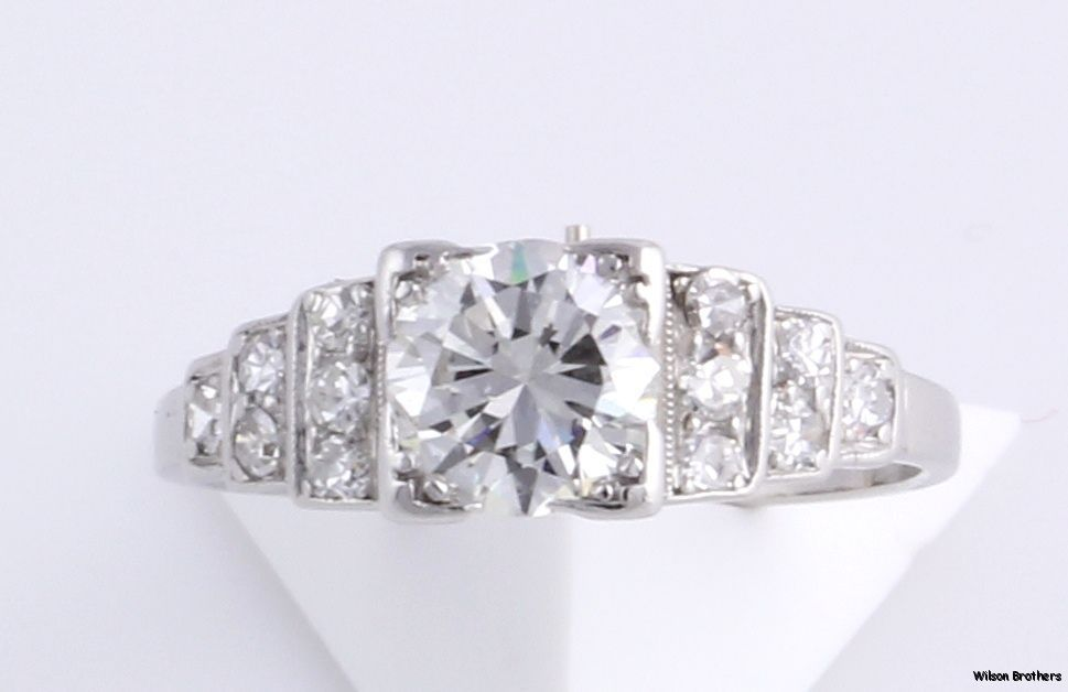 Vintage 117ctw VS1VS2 Diamond Engagement Ring 900 Platinum 1910