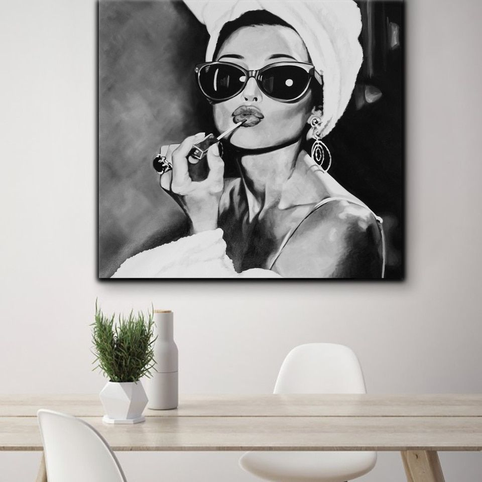 Black And White Photo Art Audrey Hepburn Canvas Painting Nordic Posters And Prints Wall Picture For Living Room Salon Wall Decor Black And White Wall Art Wall Art Canvas Painting White
