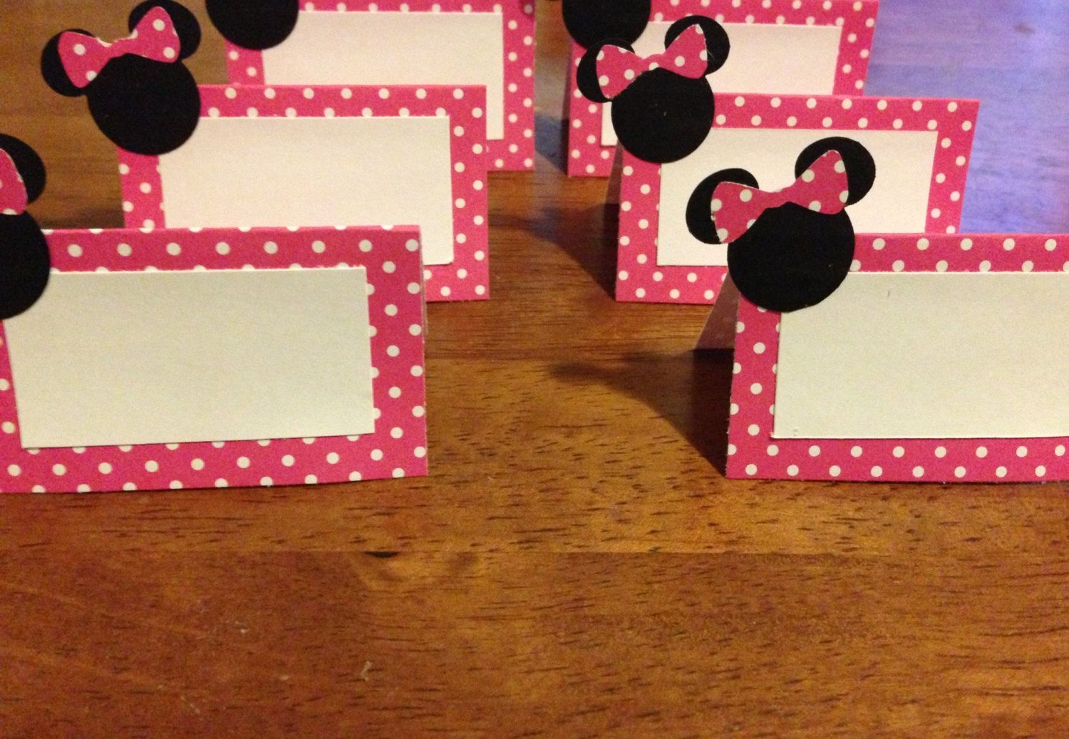 10 Minnie Mouse Place Cards Food Labels Party By Party360 4 85