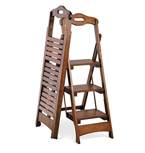 3 Step Wood Folding Ladder Stool Walnut Finish 48 Fk Https Smile Amazon Com Dp B00tvo7lf8 Ref Cm Sw R Pi Dp Folding Ladder Folding Step Stool Folding Stool