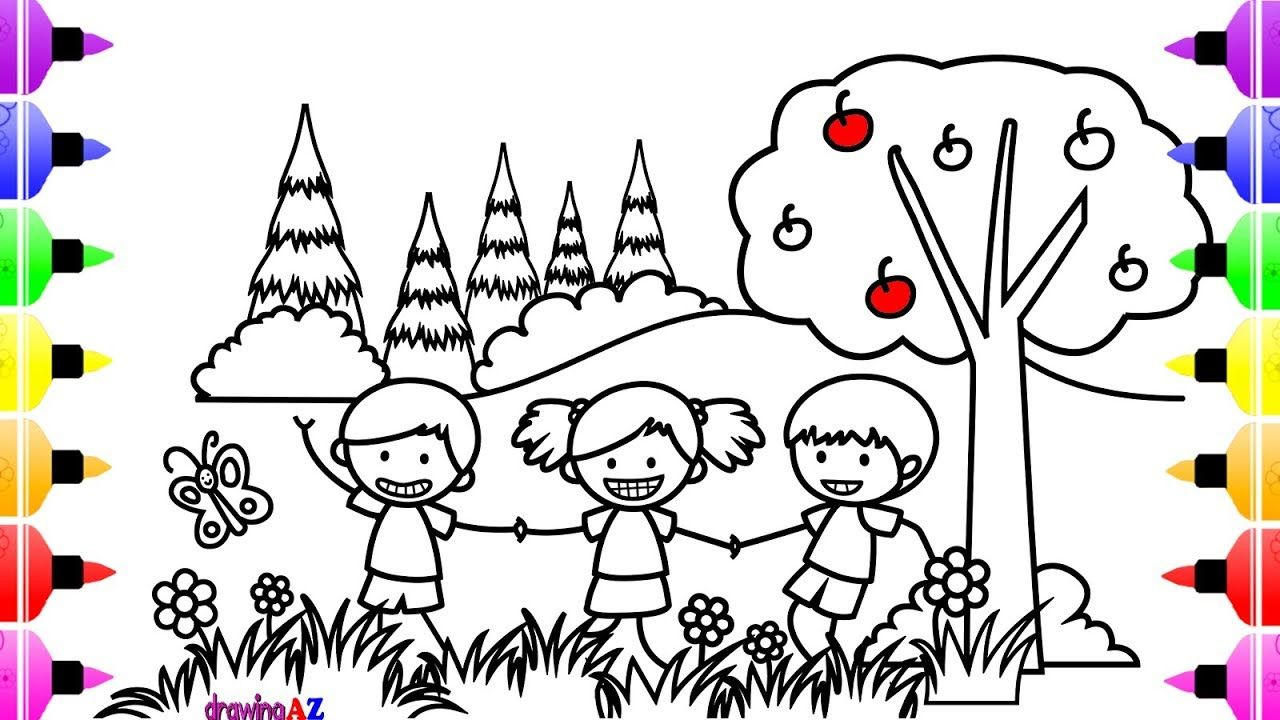 How To Draw Children Playing In The Park Coloring Book For Kids Children S Coloring Page Drawing Books For Kids Toddler Coloring Book Free Coloring Pages