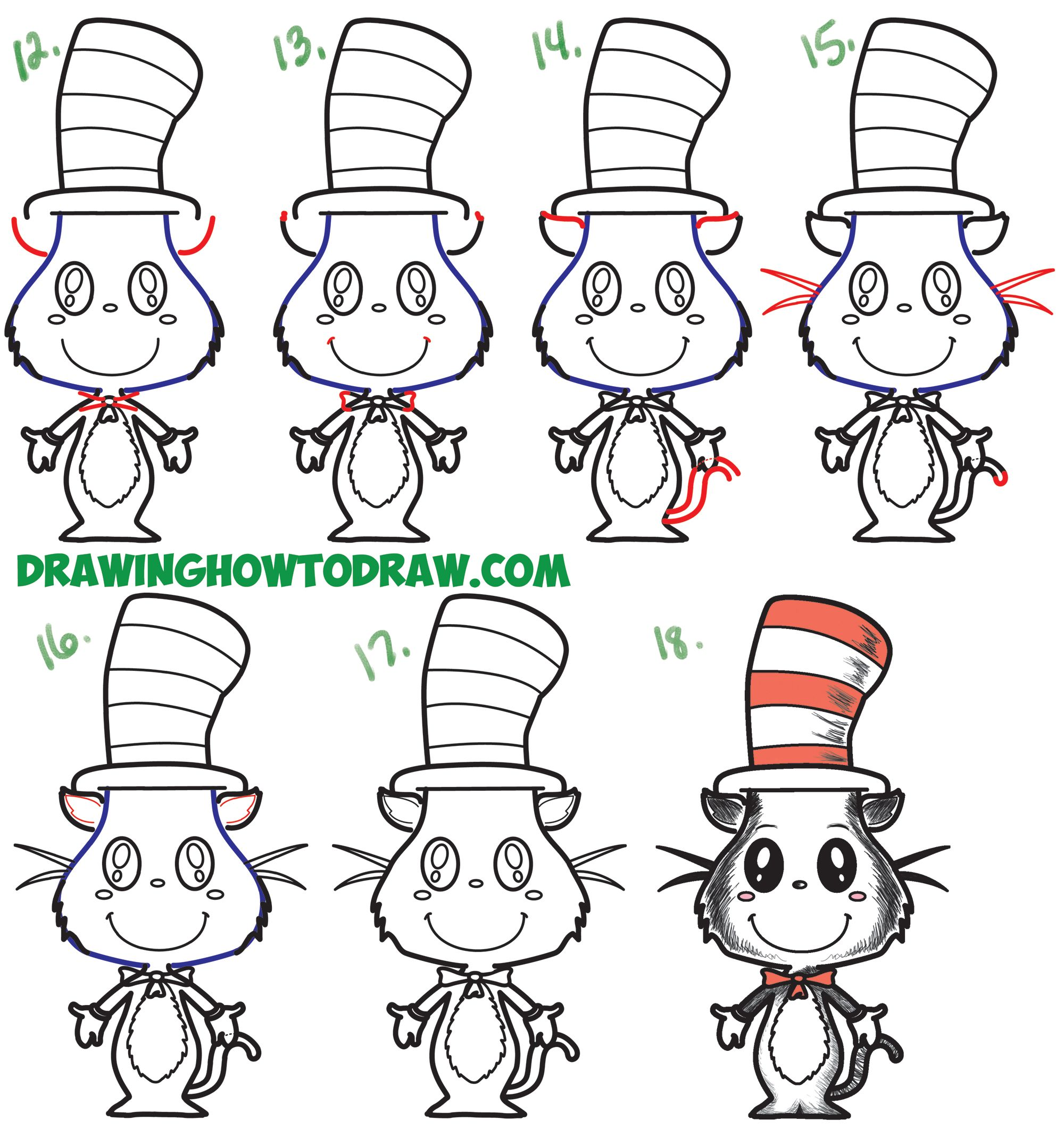 How To Draw The Cat In The Hat Cute Kawaii Chibi Version Easy