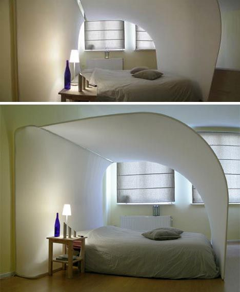 exotic cocoon bed with built in projection TV. Bizarre but fun in a ...