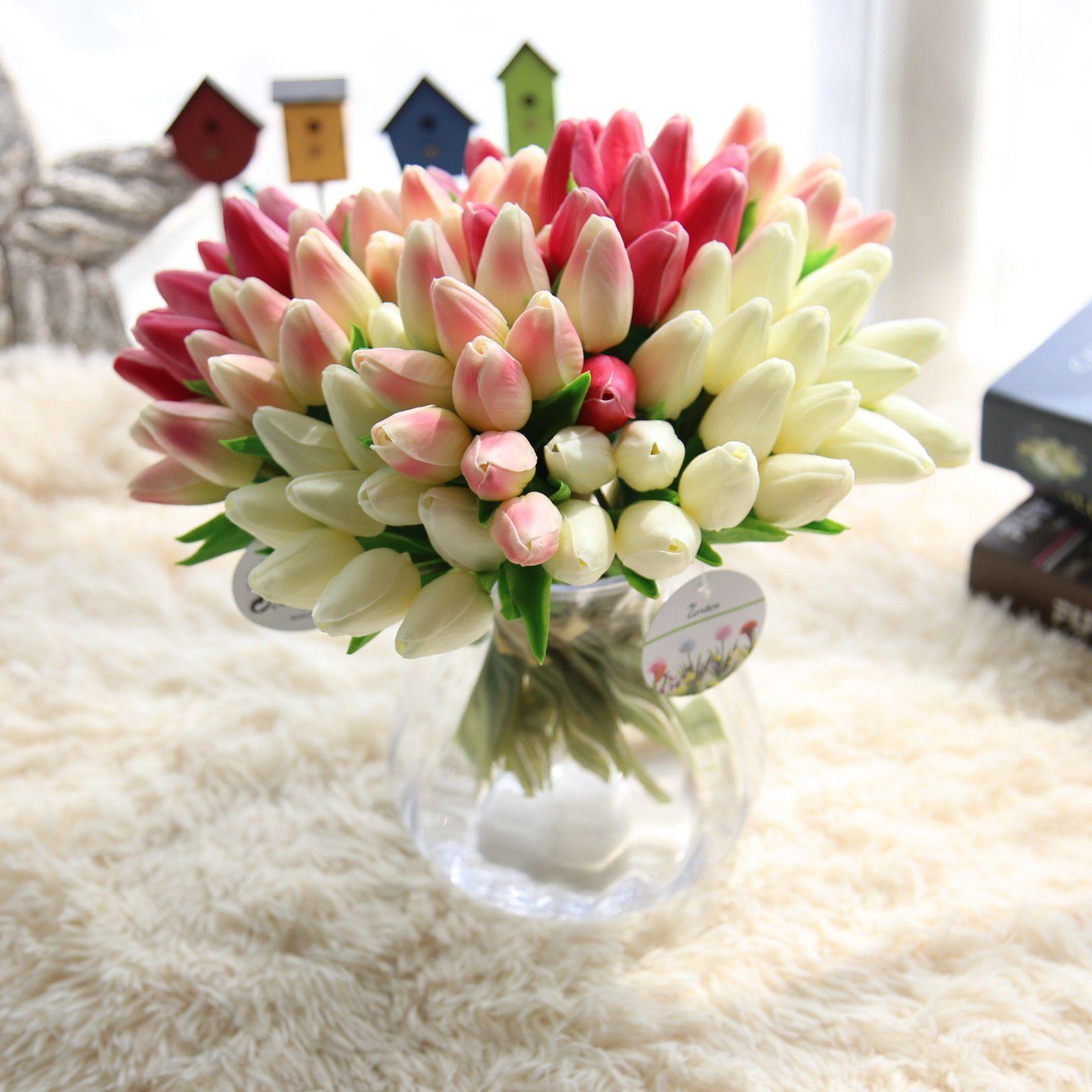 Bunch Bonquet Tulips Faux Silk Artificial Flower Bridal Hydrangea