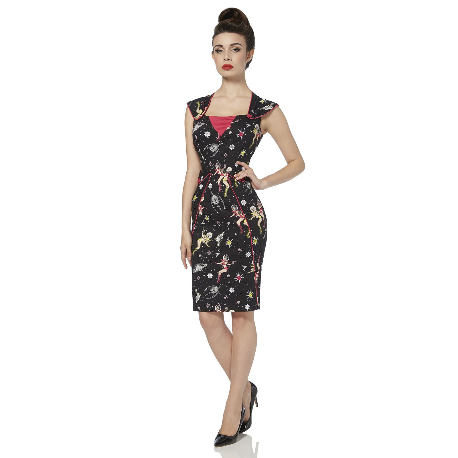 eca189b90a6125 Voodoo Vixen Zara Space Dress | Black Retro 1950s Space Pencil Dress ...