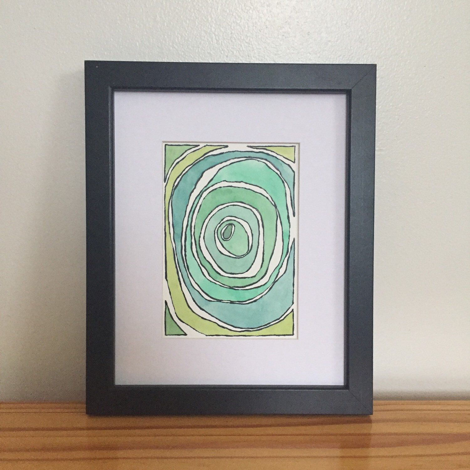 This abstract watercolor was just added to the shop! Matted and ready to be framed and displayed