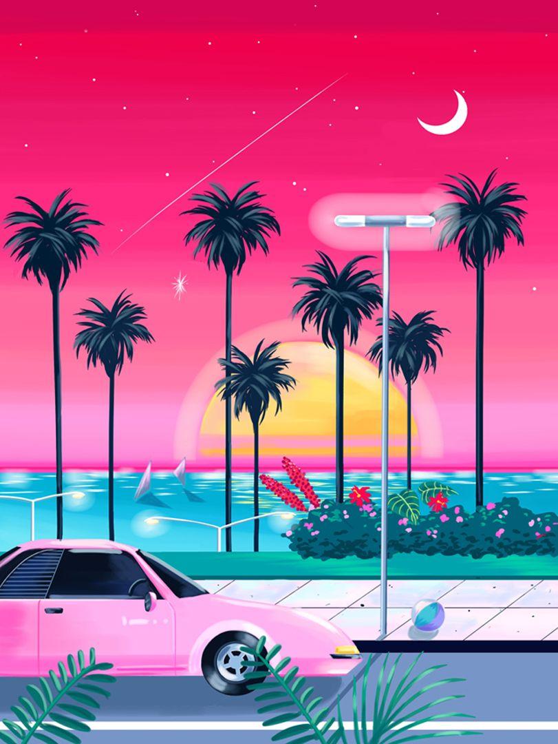 Miami Vibes Vaporwave Art Vaporwave Retro Art