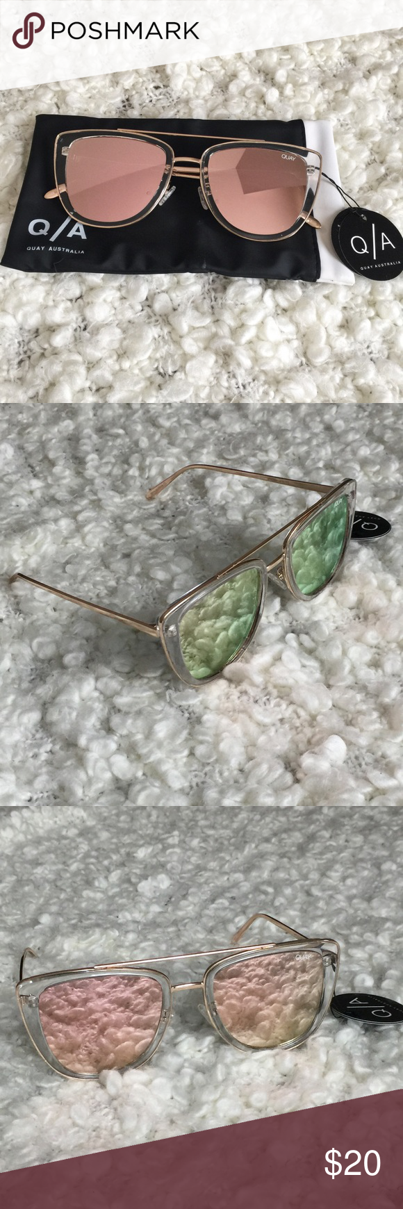 QUAY Mirror Sunglasses *NEW WITH CASE* cat eye style
