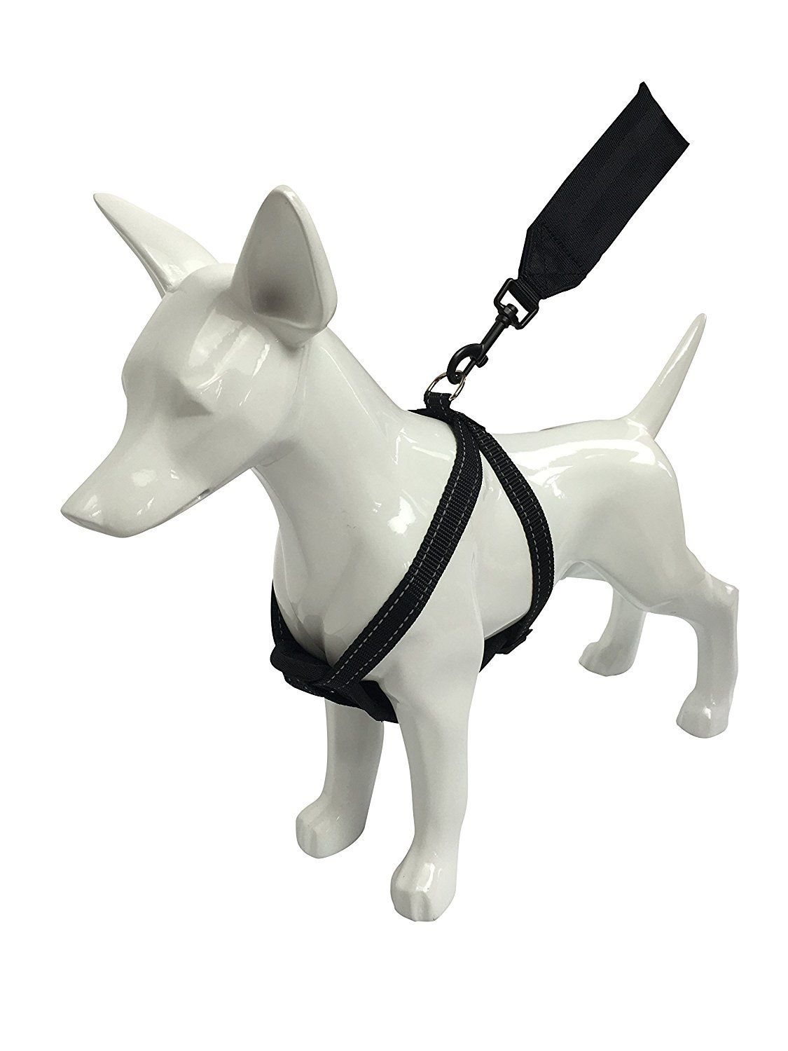 Chest Plate Dog Harness For Car With Seatbelt Black Large By