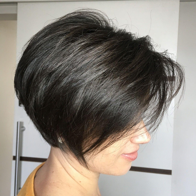 Black Pixie Bob With Angled Layers Haircut For Thick Hair Short Hair With Layers Short Layered Bob Haircuts
