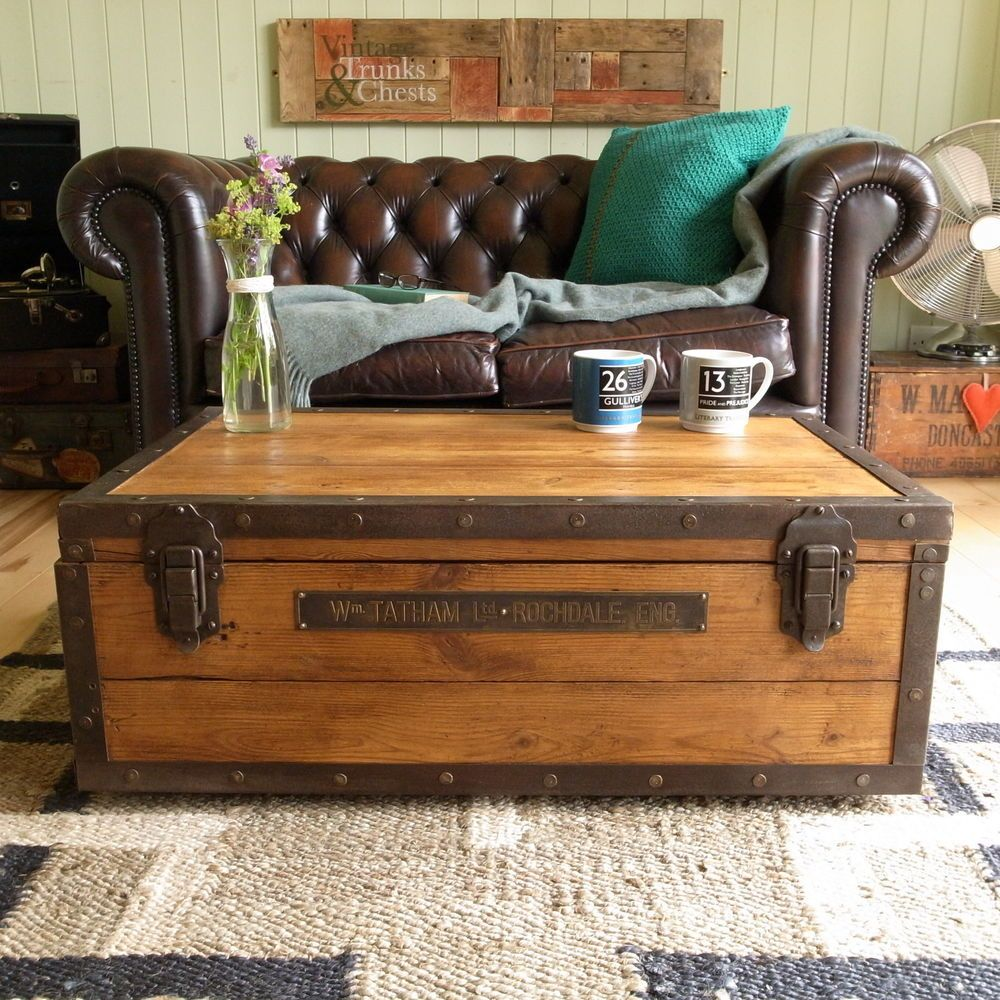 INDUSTRIAL stripped PINE plank CHEST trunk FACTORY loft COFFEE TABLE