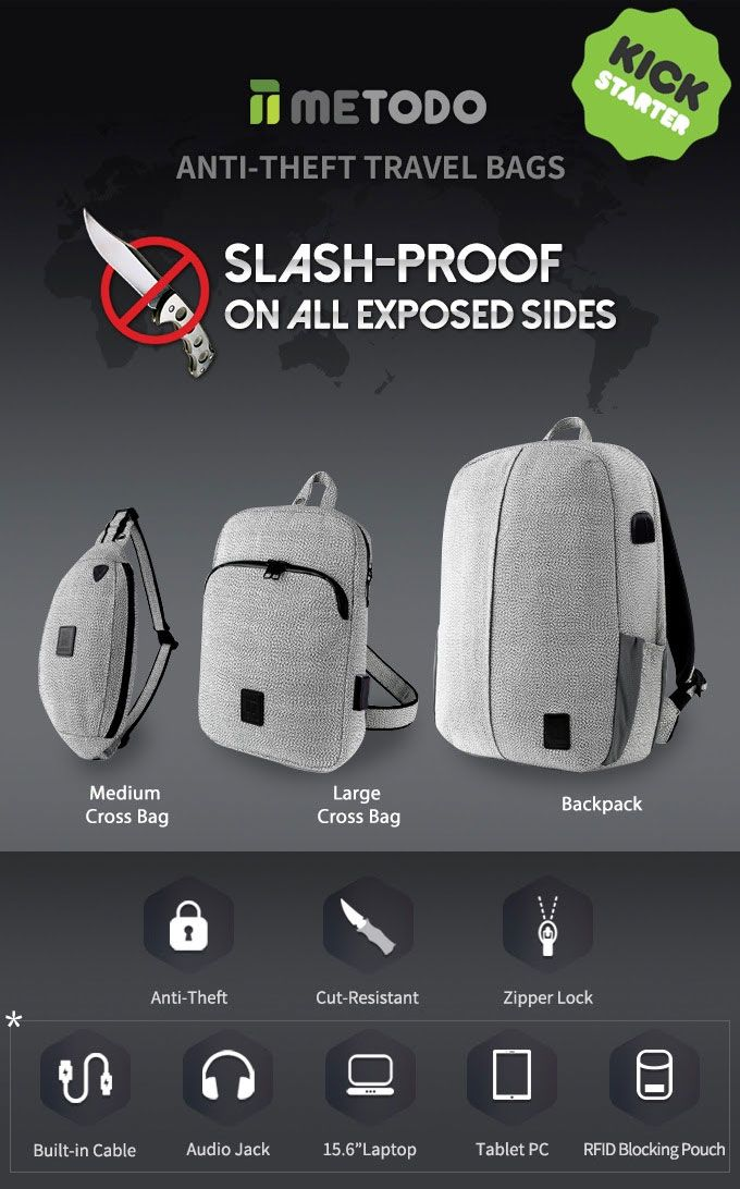 Metodo Style Slash Proof Anti Theft Backpack Travel Bags Take Piece Of Mind With You On Your Journeys Near Or Far Coming Soon The Kickstarter