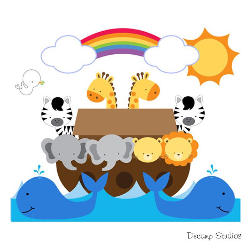 Church Nursery Pictures Google Search: Noahs Ark Wall Mural Decals Bible Story Baby Nursery