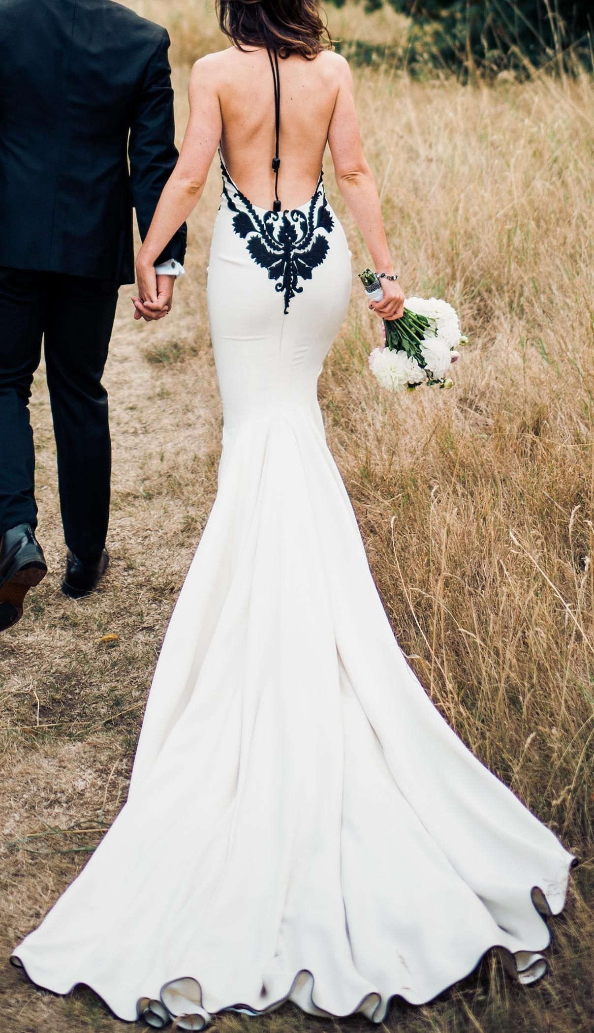 Wedding dresses kleinfeld  Ivory and Black Silk Kleinfeld Style  Modern Wedding Dress
