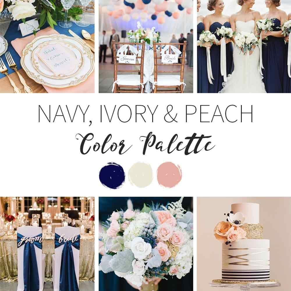 Navy Ivory And Peach A Winter Wedding Color Palette Wedding