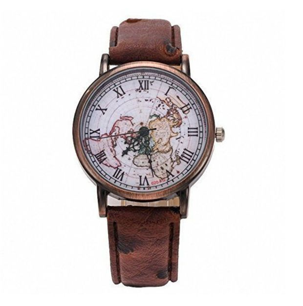 Vintage World Map Pattern Watch for Men Women Christmas Gift Free
