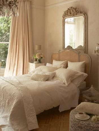 3 Things: Chandelier, Drapes and Color Palette! Create this Soft and Dreamy Bedroom.......See more at thefrenchinspiredroom.com