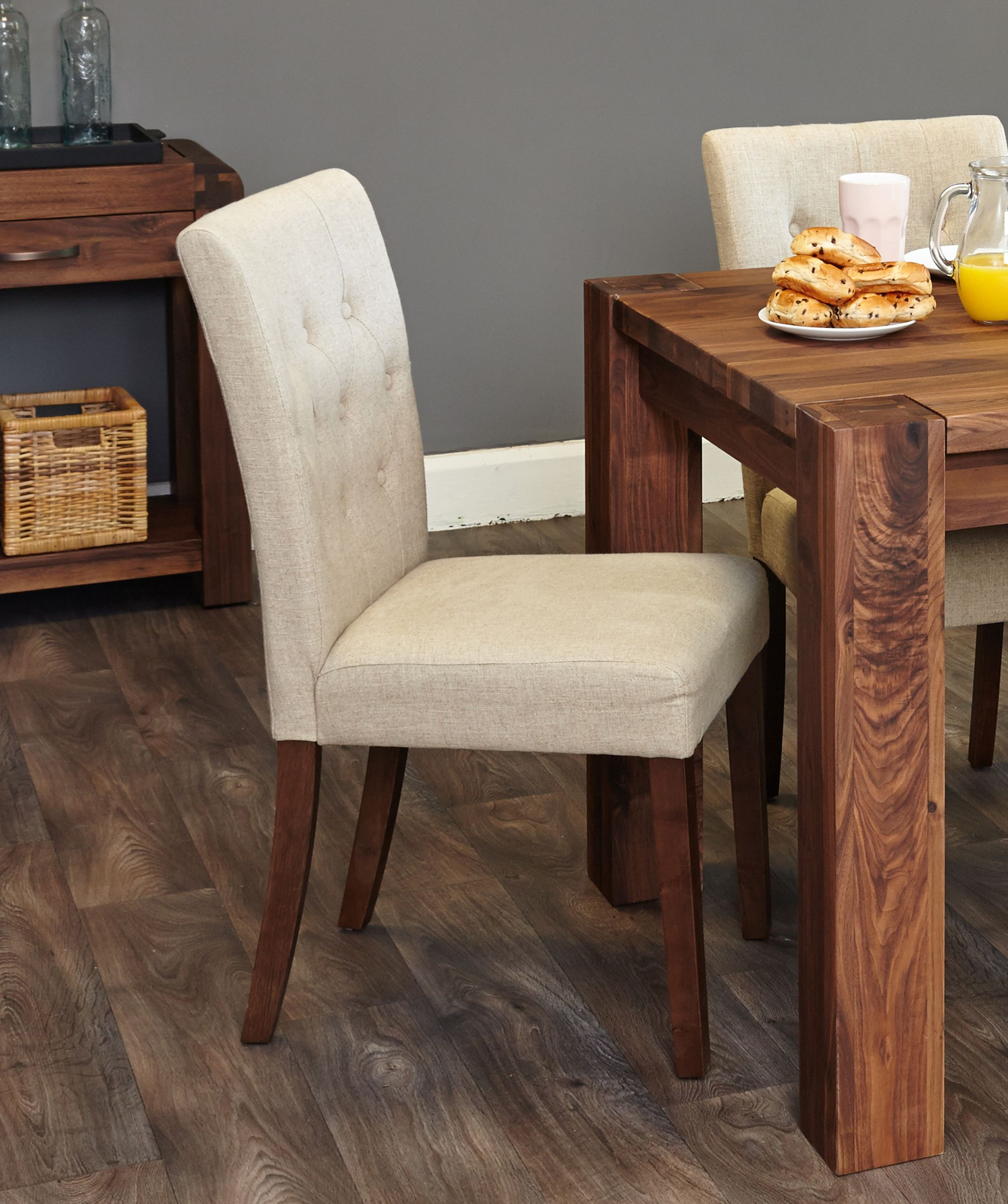 A Set Of Two Elegant Upholstered Dining Chairs In Biscuit Shade Constructed  Using A Solid Hardwood Frame And Walnut Legs Upholstered In A Luxurious, ...