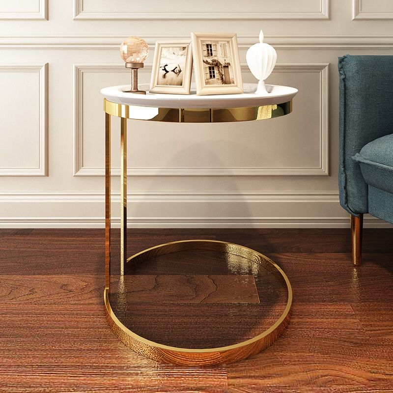 modern round white faux marble table gold c table small
