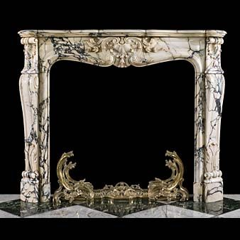14440: A fine French Rococo antique fireplace surround in opulent Arabascato Marble a dramatic Italian marble with distinctive dark grey veins against a predominantly white background. The moulded shelf abov