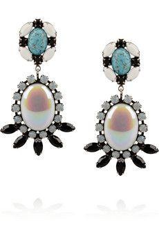 DANNIJO Corinne oxidized silver crystal earrings | THE OUTNET