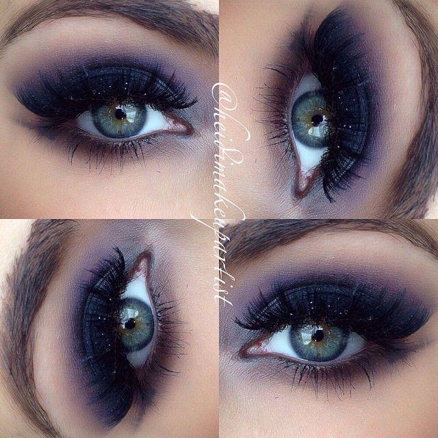Dark Blue Smokey Eye Blended Into Violet Makeup Heidimakeupartist Love The Lighter Lower Lashline With Images Glitter Makeup Tutorial Glitter Eye Makeup Eye Makeup