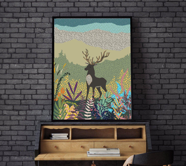Abstract deer printable wall artcolorful deerdeer in