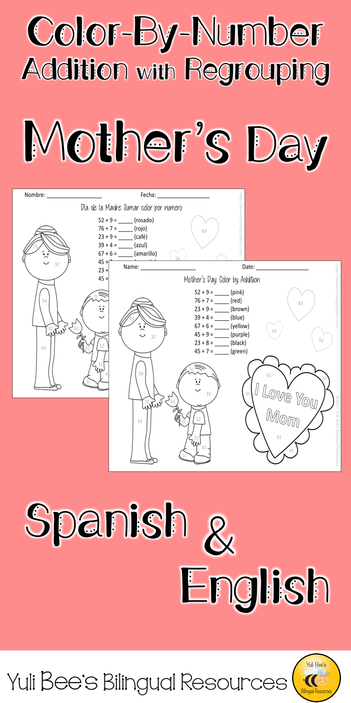 Mother S Day Color By Number Spanish English Mother S Day Colors Bilingual Math Learning Spanish [ 2249 x 1125 Pixel ]