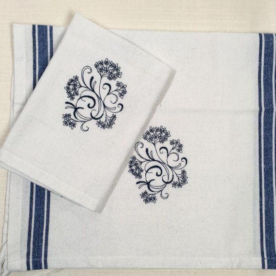 Embroidered Kitchen Towels Blue Floral Pattern On White Cotton
