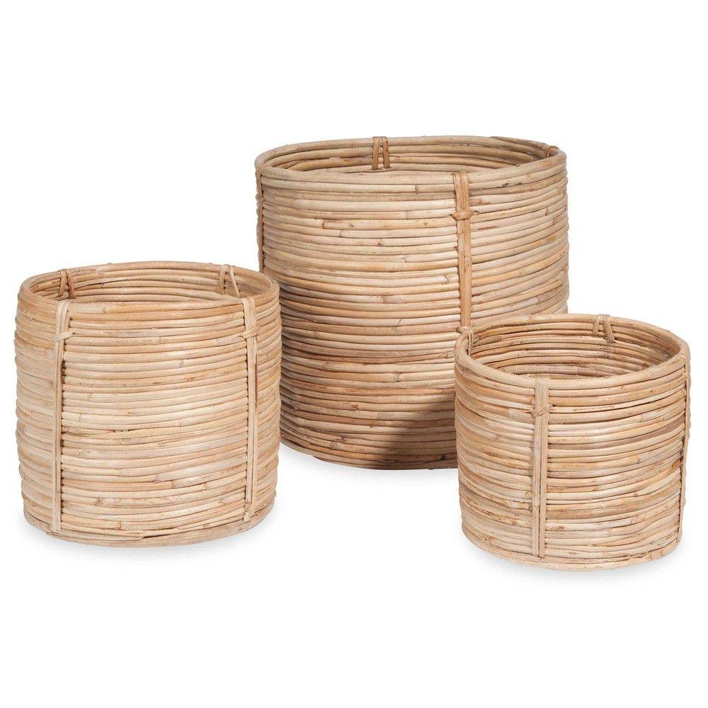 3 cache pots en rotin inspiration rotin panier rotin. Black Bedroom Furniture Sets. Home Design Ideas