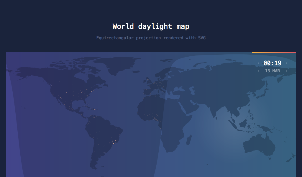 Animated SVG Rendition Of World Daylight Map Including Population - Solar location map