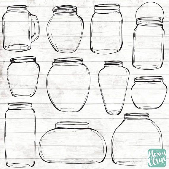 Mason Jars Clipart Hand Drawn Jars Clipart Wedding Mason Jars