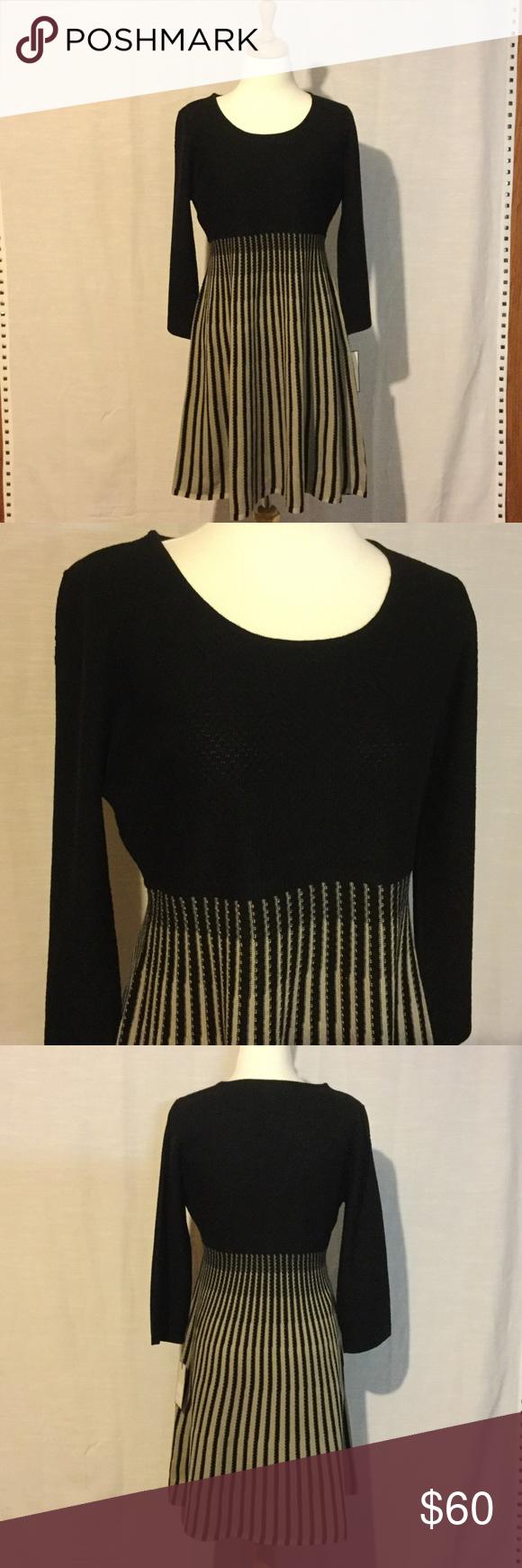 Dana buchman black and khaki aline dress nwt knit skirt black