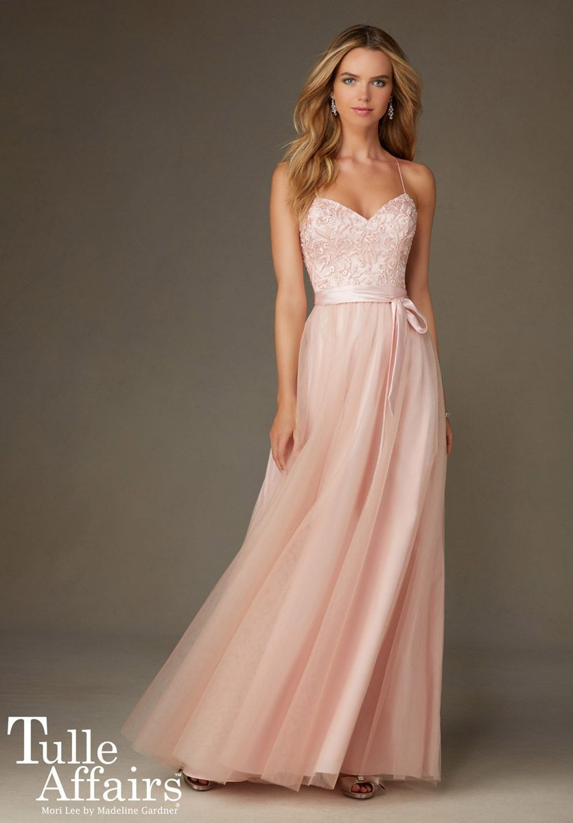 Mori Lee Tulle Affairs 132 Long Bridesmaid Dress