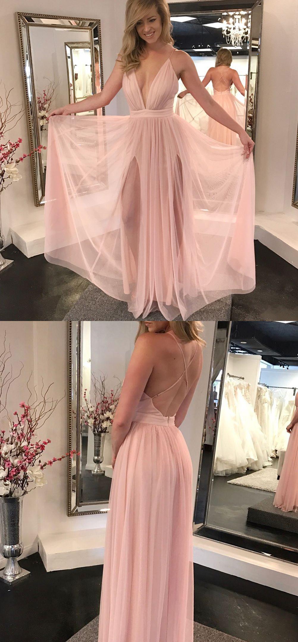 Charming a line v neck backless chiffon slit pink long prom dresses