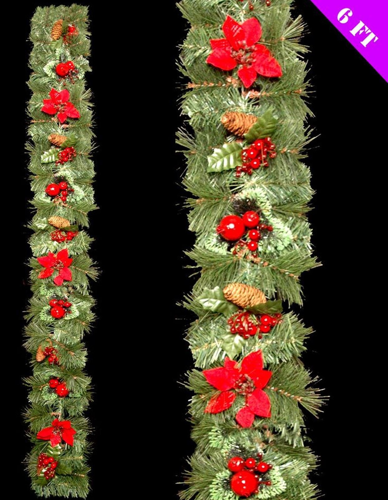 6 foot long luxury decorated christmas xmas festive wreath garland