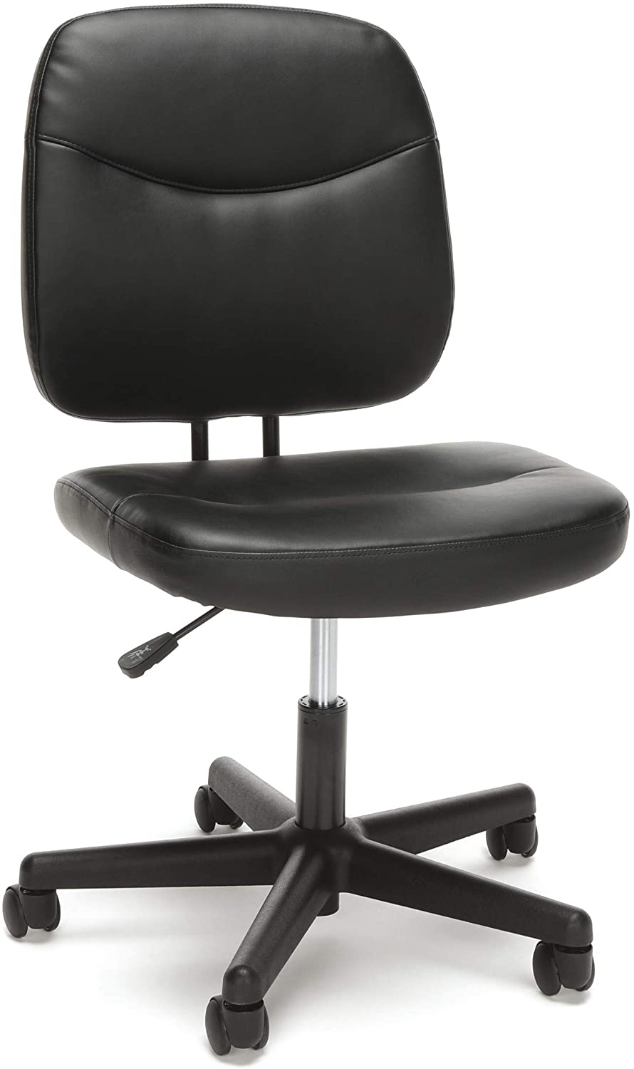 Amazon Com Ofm Essentials Collection Armless Leather Desk Chair In Black Ess 6005 Blk Kitchen Dining Leather Office Chair Leather Desk Office Desk Chair