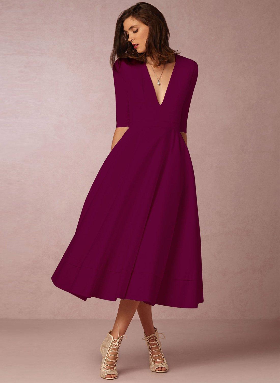 e74491fb43 A-Line V Neck Half Sleeve Midi Party Dress