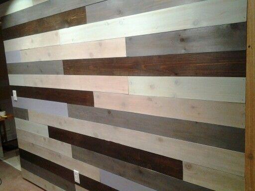 stained cedar board wall