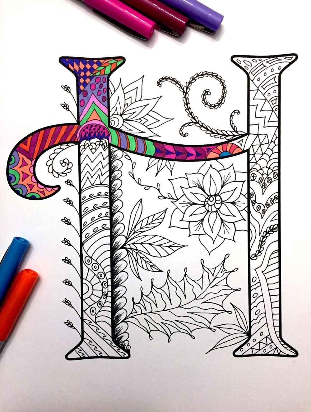 Harrington Font Printable Zentangle Alphabet Number Coloring Pages Zentangle Art Lettering Alphabet Coloring Books