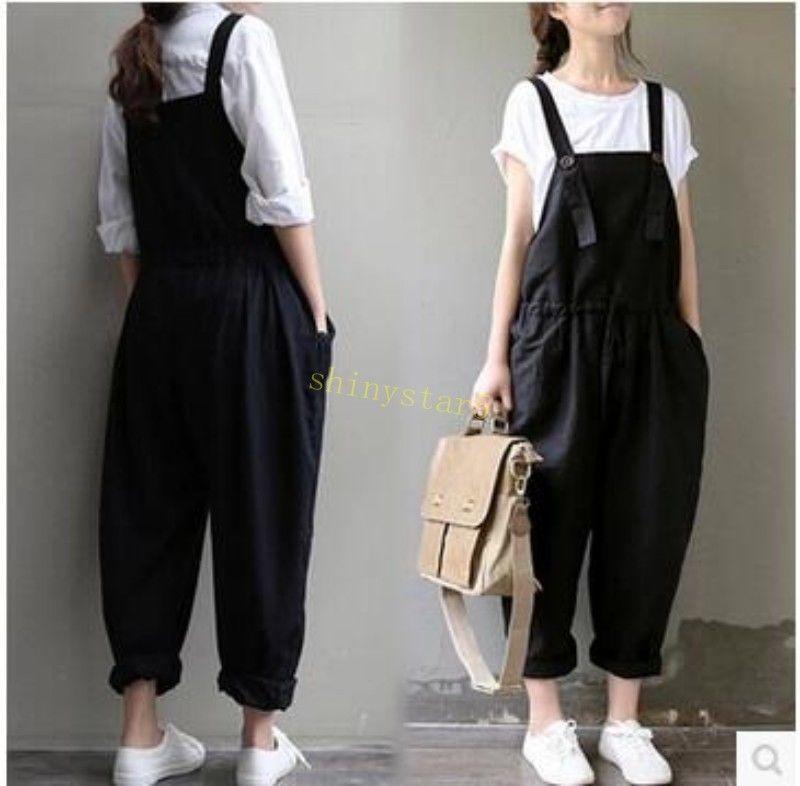 399fb92bc69 Women Linen Long Loose Casual Pant Jumpsuit Suspender Baggy Overalls Jumper