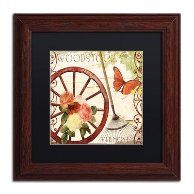 "Trademark Art 'Vermont Summer I' Framed Graphic Art Size: 11"" H x 11"" W x 0.5"" D, Mat Color: Black"