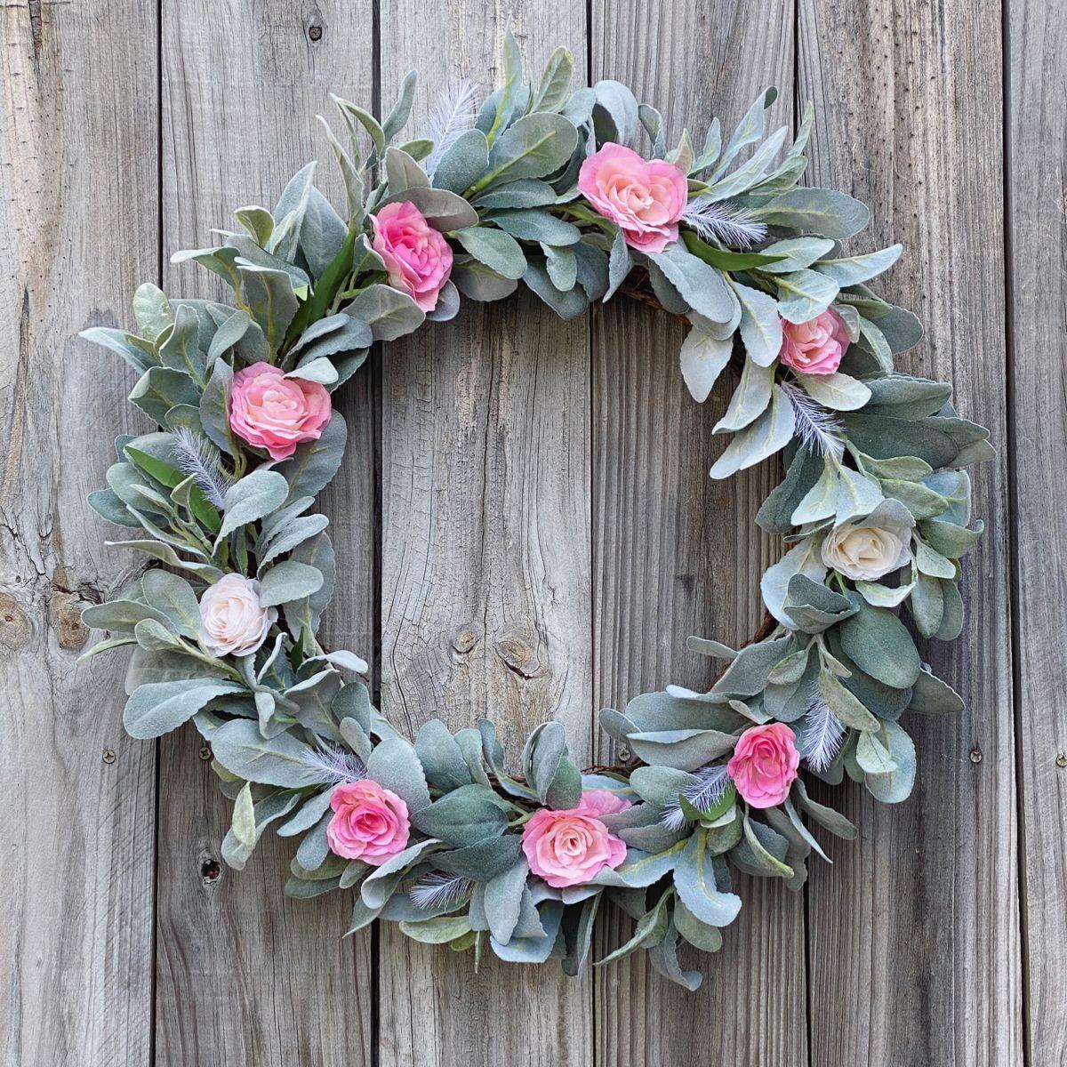 Photo of Spring grapevine wreath, Lamb's Ear Spring Wreath