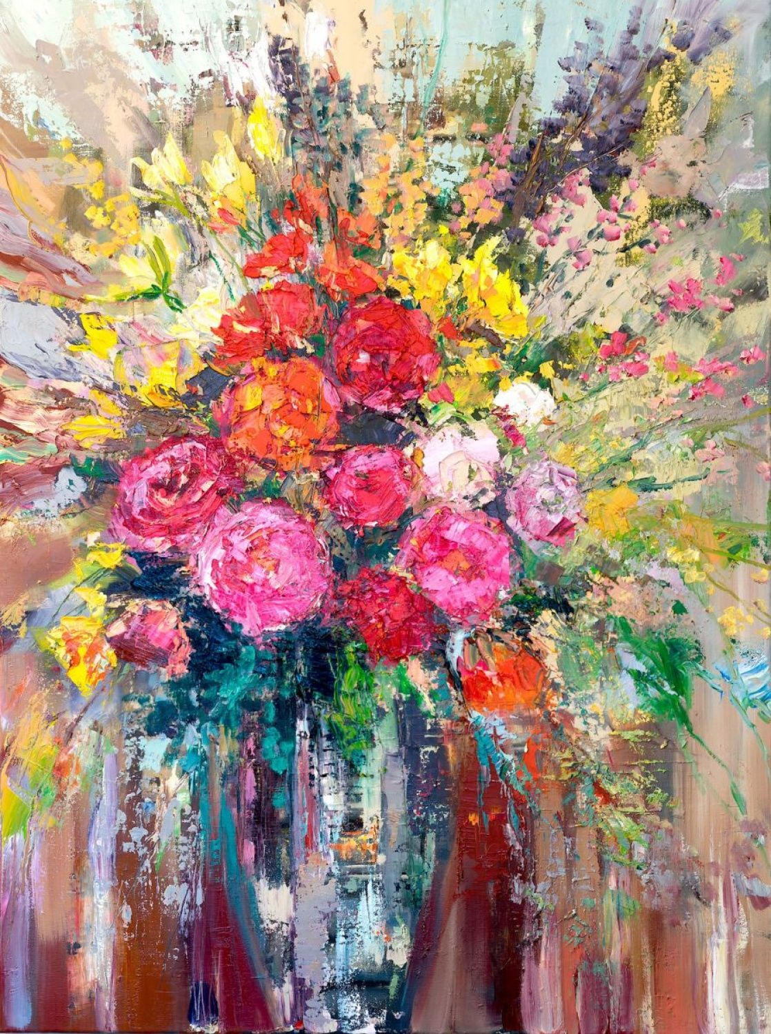 Heavy textured beautiful bright colours ready to hang with
