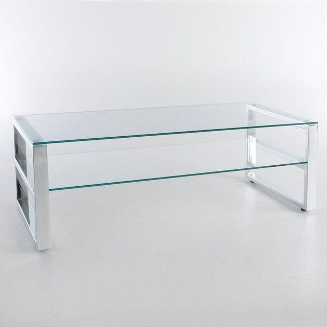 table basse rectangulaire design chrome et verre la redoute interieurs prix avis notation. Black Bedroom Furniture Sets. Home Design Ideas