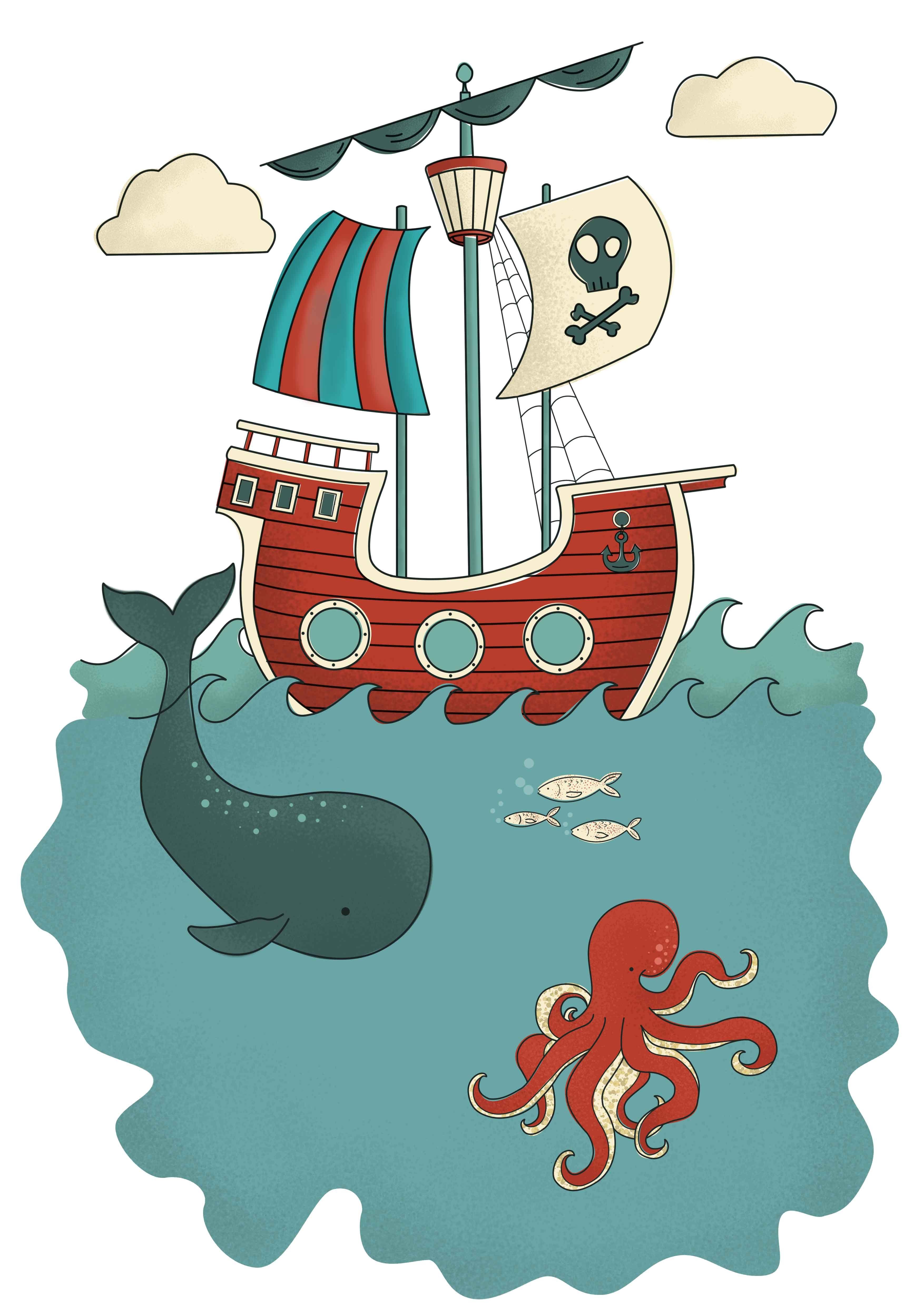 Pirate Ship Illustration Children Own Work