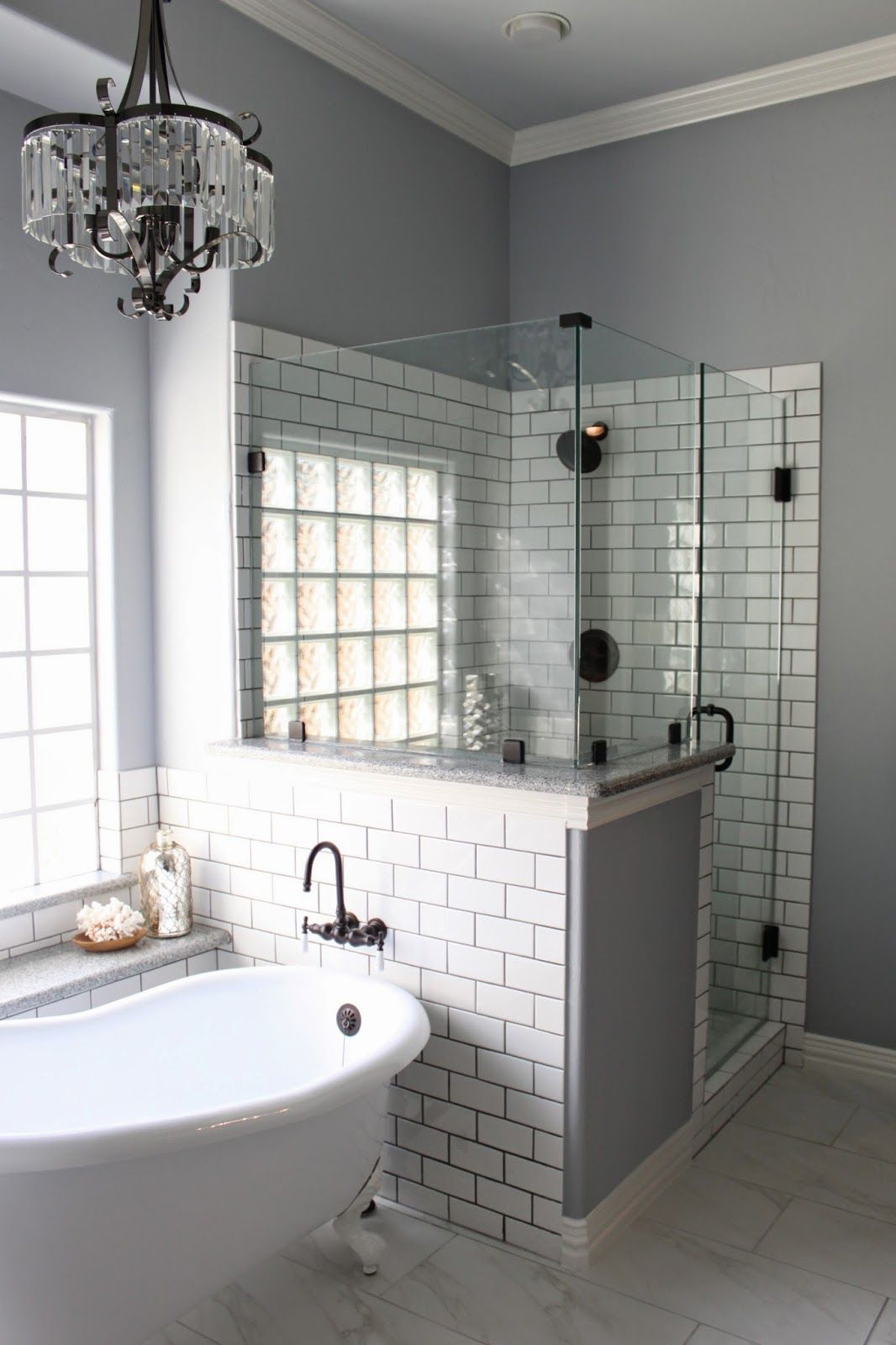 Master bath remodel grey grout white subway tiles and grout for Redesign bathroom ideas