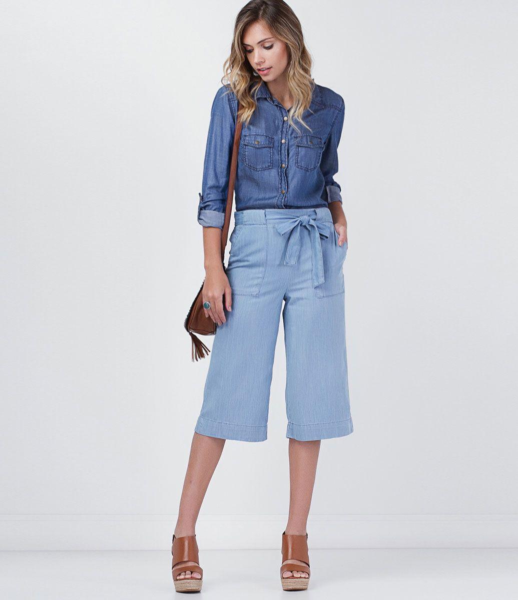 8f9d08f1e Calça pantacourt jeans | Moda para usar | Calça pantacourt ...