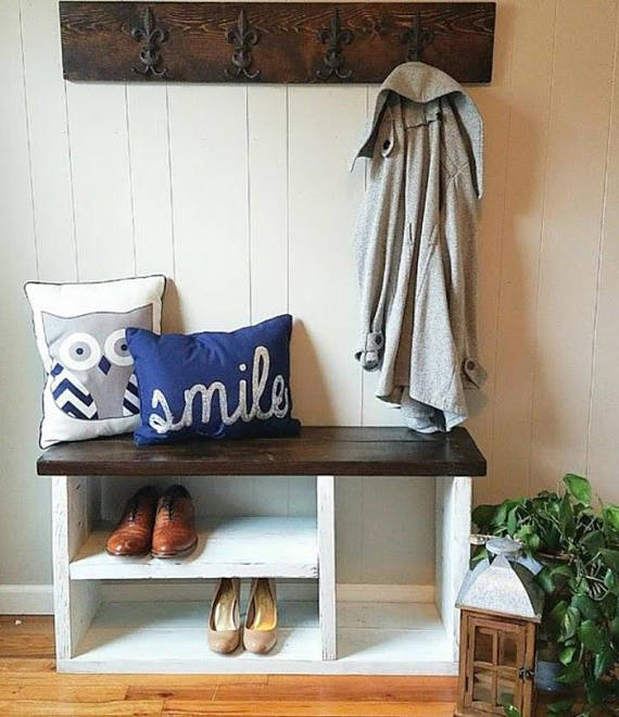 Elegant Front Entry Bench with Shoe Storage