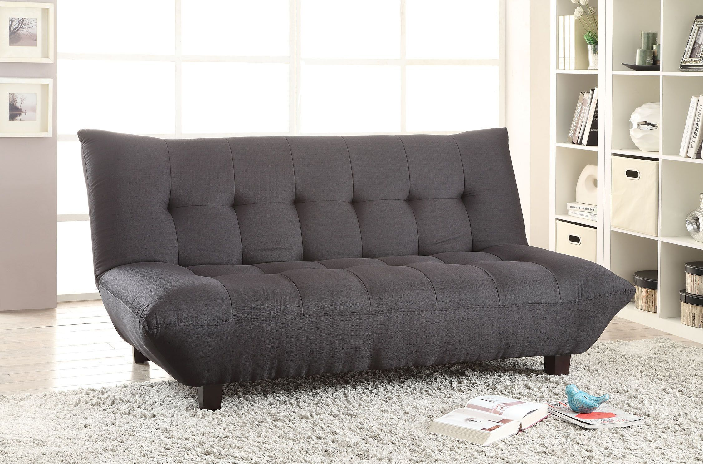 Acme Baines Adjustable Sofa Black Linen at hhoutlets for only